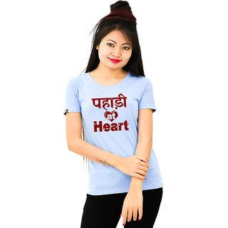 HEYUZE Cotton Girl Women's Half Sleeve Round Neck Pahari At Heart Printed T-Shirt