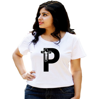 HEYUZE Cotton Girl Women's Half Sleeve Round Neck Alphabet P Jesus Printed T-Shirt