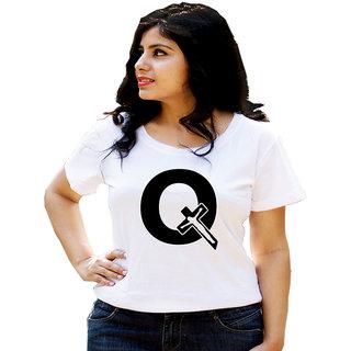 HEYUZE Cotton Girl Women's Half Sleeve Round Neck Alphabet Q Jesus Printed T-Shirt