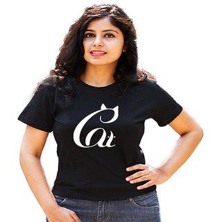 HEYUZE Cotton Girl Women's Half Sleeve Round Neck Cat Quote Printed T-Shirt