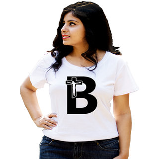 HEYUZE Cotton Girl Women's Half Sleeve Round Neck Alphabet B Jesus Printed T-Shirt