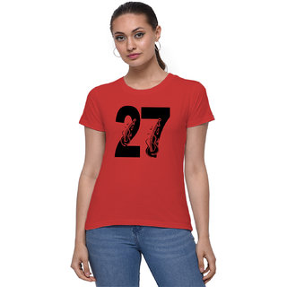 The Heyuze Haat Shop Your Expression Cotton Girl Women's Half Sleeve Round Neck Lucky Number 27 Guitar Music Lover Printed T-Shirt