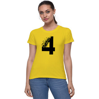 The Heyuze Haat Shop Your Expression Cotton Girl Women's Half Sleeve Round Neck Lucky Number 4 Guitar Music Lover Printed T-Shirt