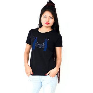 HEYUZE Cotton Girl Women's Half Sleeve Round Neck Bihuwoti Nasoni Assamese Printed T-Shirt