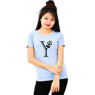 HEYUZE Cotton Girl Women's Half Sleeve Round Neck Alphabet Y Shiva Printed T-Shirt
