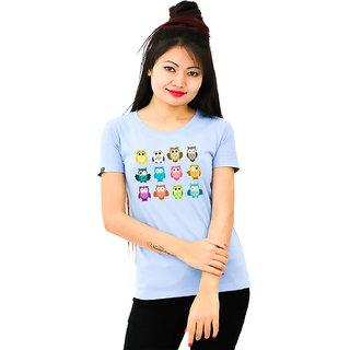HEYUZE Cotton Girl Women's Half Sleeve Round Neck Owls Printed T-Shirt