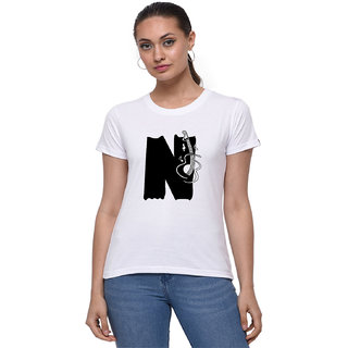 The Heyuze Haat Shop Your Expression Cotton Girl Women's Half Sleeve Round Neck Alphabet N Guitar Music Lover Printed T-Shirt