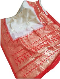 Beautiful offwhite Banarasi crystal silk saree