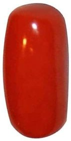 Parushi Gems 12 Ratti Created Munga Capsule Shaped Faceted Gemstone Red Coral Original Certified Gemstone For Unisex
