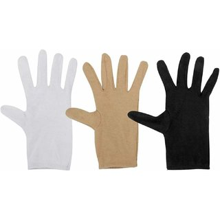 Ramanta Combo Pack Of 3 Pairs Of Cotton Full Hand Gloves (Assorted)