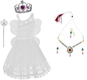 Baby Girl Pari Angel Fairy Butterfly Costume Frock Dress With Multicoloured Jewellery Necklace Earrings And Tika
