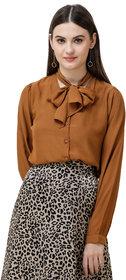 Dechen Women's Cuff Sleeves Tan Tie-Up Neck Shirt