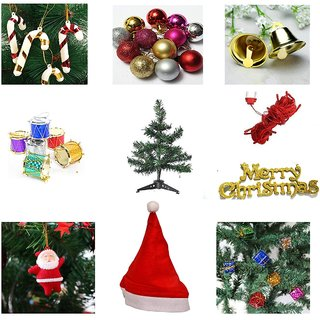 Zeeko Plastic Christmas Combo Of 1 Feet Christmas Tree, Santa Cap, Red Rice Light And Tree Decorations Set (Balls)