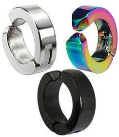 Men Style Non-Pireced Clip On Multicolour Stainless Steel Hoop Earring