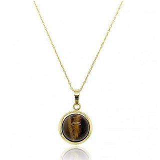 Ceylonmine- 6.5 Ct.Tiger's Eye Good Quality Gemstone Gold Plated Adjustable Pendant For Unisex Igl Stone Tiger's Eye Pendant For Astrological Purpose