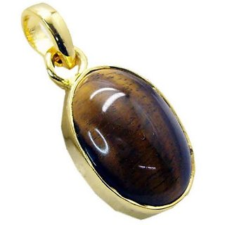 Original & Natural Stone Tiger's Eye 5.75 Carat Stone Gold Plated Adjustable Pendant For Women & Unisex By Ceylonmine