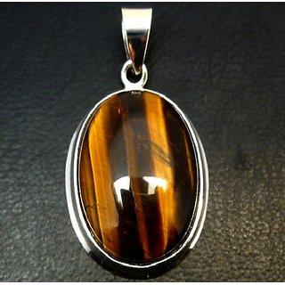 Ceylonmine- Lab Certified Semi- Precious Stone Tiger's Eye 6.25 Ratti Stone Pendant In Gold Plated Effective Stone Tiger's Eye Pendant For Unisex