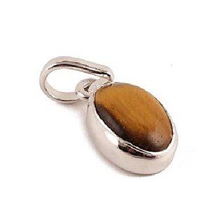 Ceylonmine- 6.25 Ratti (6.00 Ct.) Stone Tiger's Eye Silver Pendant Astrological  Effective Stone Pendant For Unisex