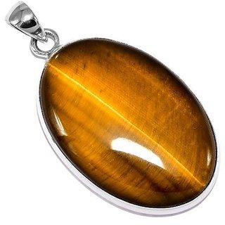 Ceylonmine- Lab Certified Semi- Precious Stone Tiger's Eye 6.25 Ratti Stone Pendant In Silver Effective Stone Tiger's Eye Pendant For Unisex