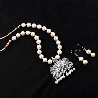 Silvershine Amazing Oxidised Pendant White Pearl Jewellery Set For Women