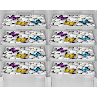 Aradent Multipurpose Refrigerator Mats Set Of 8 Pcs For Single Door Fridge (Size: 12X17 Inches, Color : Multicolor)