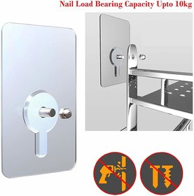 Online Mantra Nail-Free Wall Hook Waterproof Self Adhesive Screw Nails (12 Mm, Transparent) - Pack Of 6 Pieces