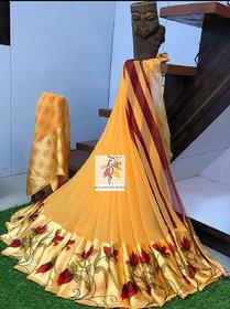 Mastani Orange Printed Georgette With Blouse Saree