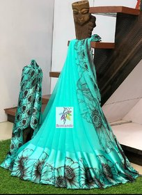 Mastani Aqua Printed Georgette With Blouse Saree