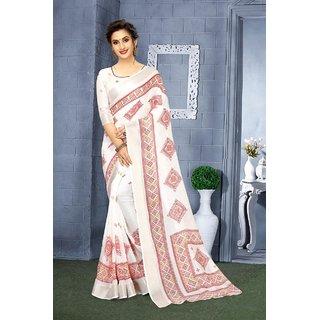 Mastani White Printed Linen With Blouse Saree