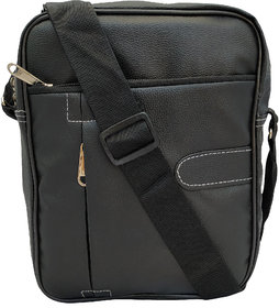 Kamview Artificial Leather Cross Body mens Black Sling Bag (MSB-PUB)