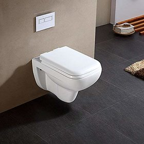 InArt Ceramic Glaze Wall Hung/Wall Mounted with Hydraulic Seat Cover (Jeta, White)