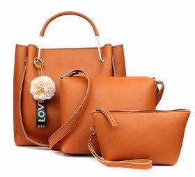 Mammon Women's Stylish Handbags Combo (3LR-BIB-Tan)