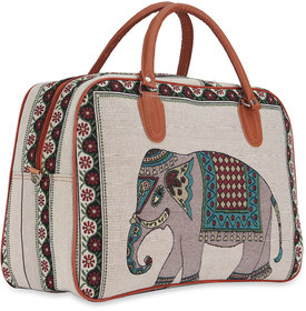 NFI essentials Retro Elephant Print Canvas Travellling Duffle Air Bag (Y55)