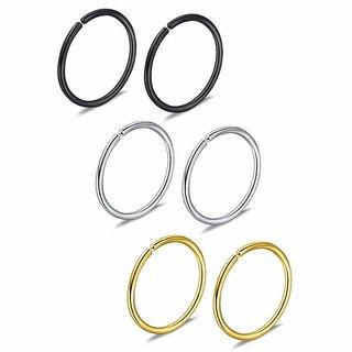 Nose Ring Black, Silver, Golden Earring (Bali) For Women Women Girls, SET OF 3