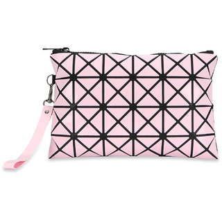 NFI essentials Geometric design Makeup Vanity Pouch  Cosmetic Money Pouch  Jewellery Travel Organizer (Y54 Pink)