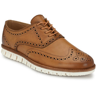 El Paso Men's Tan Faux Leather Ultra Stylish Brogues Casual Shoes