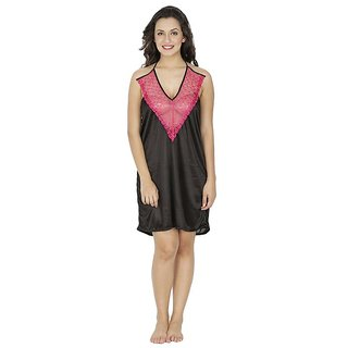Nitein Lycra Baby Doll Dresses With Panty - Black