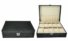 House of Quirk Portable Travel Watch Box 10 Slot for Pu Leather Design Case,Collector Storage Jewelry Storage, Large Holder, Metal Lock - Black