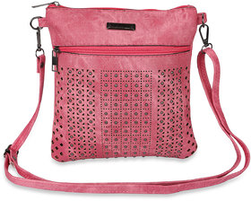 NFI essentials Y12 Pink Sling Cross Body Hand Bag with Cut works and Beads
