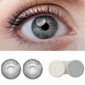 Debonair Grey Color Contact lens With Free Case and Solution Monthly 1 Pair