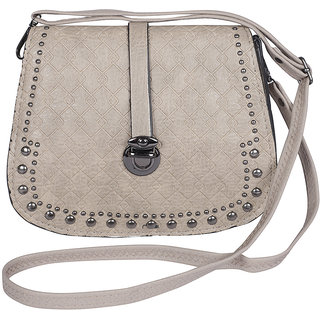 NFI essentialsy Y11 Khakhi GIRLS SLING CROSS BODY HAND BAG WITH BEADS