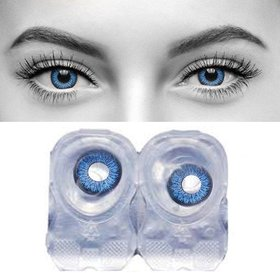Debonair Blue Color Contact lens With Free Case and Solution Monthly 1 Pair