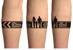 Voorkoms Mom Dad hand Tribal Tattoo Two Design In Combo (Hand Band 02) Size 11x6 cm
