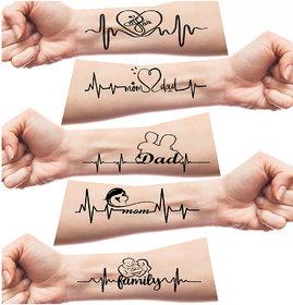 Pack of 2 Family Black waterproof Temporary Tattoo by VOORKOMS