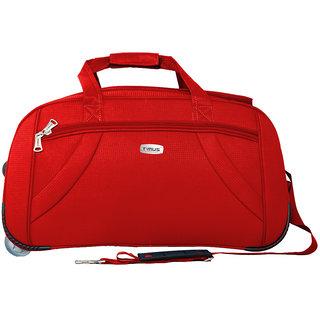 Timus Club Mumbai 65CM Red 2 Wheel Duffle Trolley Bag for Travel (Check-In Luggage)