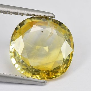 CEYLONMINE yellow sapphire gemstone 7.5 ratti original & unheated stone push raja for astrological purpose