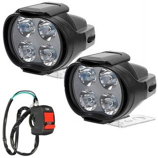 RA 4 Led Shilon Fog Light with Switch for Bikes and Cars