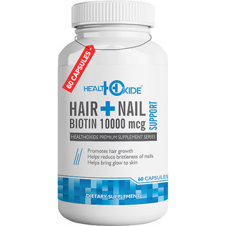 HealthOxide Biotin 10000 mcg Supports Healthy Hair Skin and Nail  60 Veg Capsules