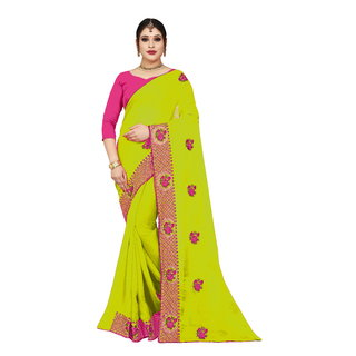 Aurima Womens Mose Silk Designer Saree with Heavy Embroidered Bordered and Patch Work