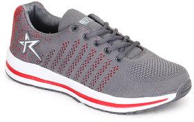REFOAM Men's GREY & RED FLYKNIT Running Sports Shoe